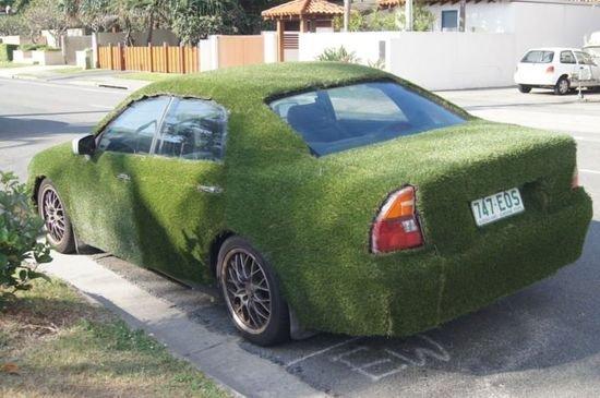 Австралиец покрыл кузов своей машины 35-миллиметровым слоем травы