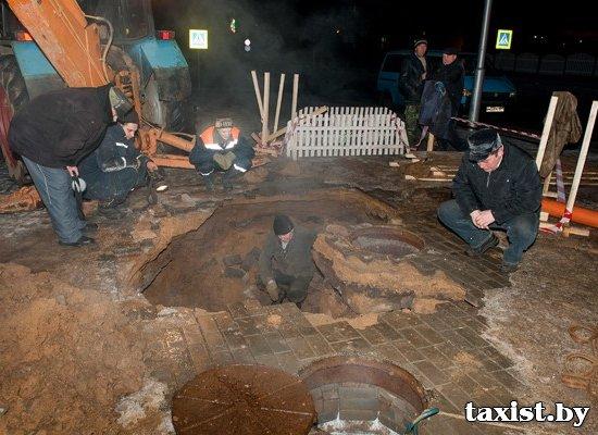 ЧП в Горках – люди провалились под землю вместе с тротуаром