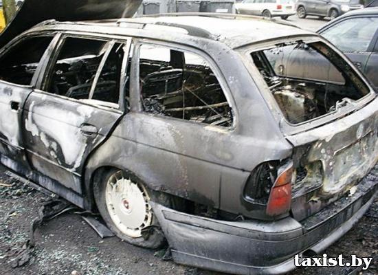 в Минске за одну ночь сгорели 15 автомобилей